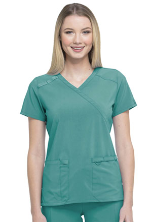 Dickies EDS Essentials Mock Wrap Top in Teal Blue (DK625-TLPS)
