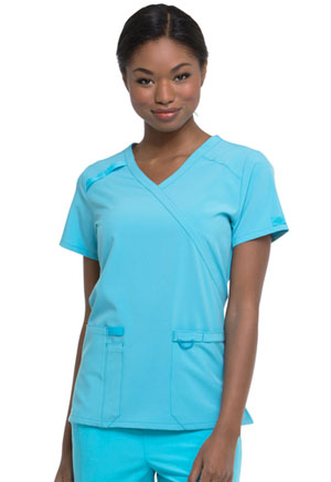 Dickies EDS Essentials Mock Wrap Top in Turquoise (DK625-TRQ)