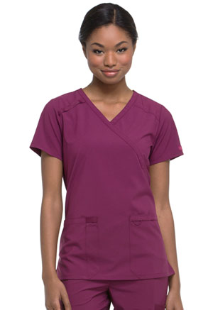Dickies EDS Essentials Mock Wrap Top in Wine (DK625-WNPS)