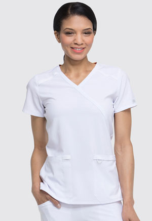Dickies EDS Essentials Mock Wrap Top in White (DK625-WTPS)