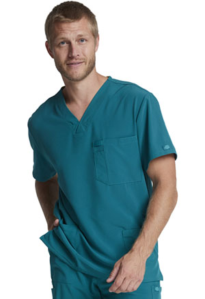 Dickies EDS Essentials Men's Tuckable V-Neck Top in Caribbean Blue (DK635-CAPS)