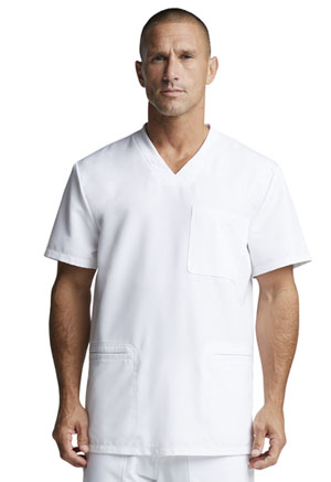 Dickies Dynamix Men's V-Neck Top in White (DK640-WHT)
