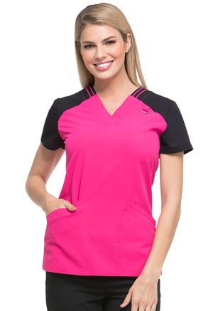 Dickies Contrast V-Neck Top Hot Pink (DK655-HPKZ)