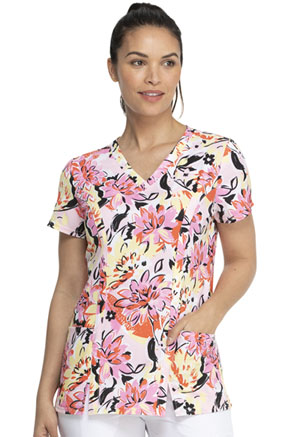 Dickies Prints V-Neck Top in Brilliantly In Bloom (DK656-BTYM)