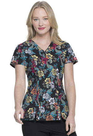 Dickies Prints V-Neck Top in Wild Rose (DK656-WIRE)