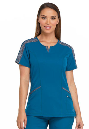Dickies Dynamix Shaped V-Neck Top in Caribbean Blue (DK665-CAR)