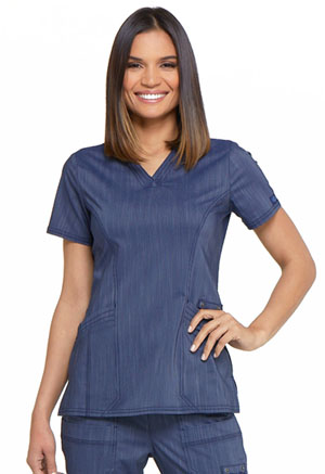 Dickies Advance Two Tone Twist V-Neck Top in D Navy Twist (DK680-NAVT)