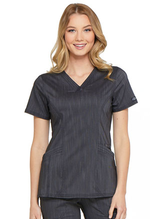 Dickies Advance Two Tone Twist V-Neck Top in Onyx Twist (DK680-ONXT)