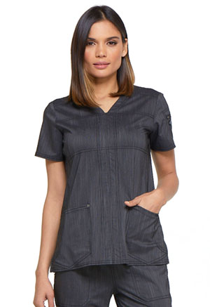 Dickies Advance Two Tone Twist V-Neck Top in Onyx Twist (DK690-ONXT)