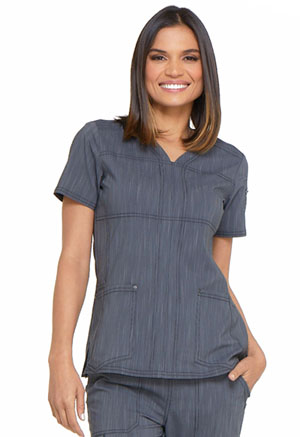 Dickies Advance Two Tone Twist V-Neck Top in Pewter Twist (DK690-PWTT)