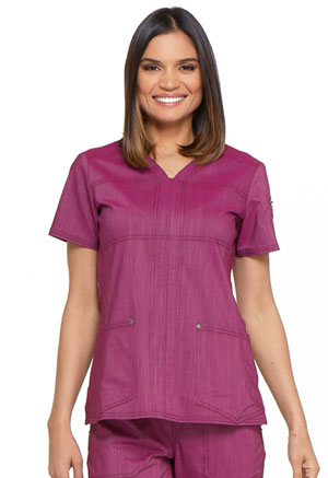 Dickies Advance Two Tone Twist V-Neck Top in Sangria Twist (DK690-SGRT)