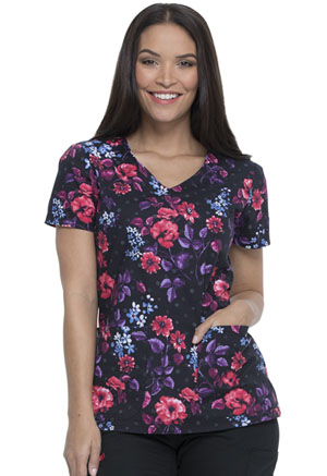 Dickies Prints V-Neck Top in Blooming Twilight (DK700-BGTH)