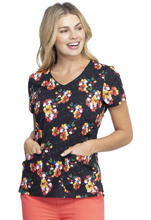 Dickies Prints V-Neck Top in Caring Clusters (DK700-CAIU)