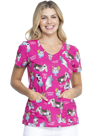 Dickies Prints V-Neck Top in Doggone Sweet (DK700-DGSW)