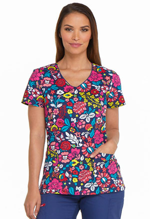 Dickies Prints V-Neck Top in Folklore Floral (DK700-FKFL)