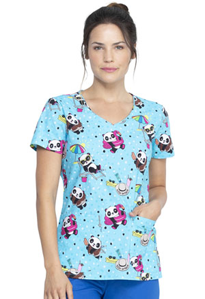 Dickies Prints V-Neck Top in Hello Sunshine Panda (DK700-HELS)