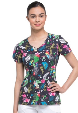 Dickies Prints V-Neck Top in Look Who's Squawking (DK700-LOSQ)
