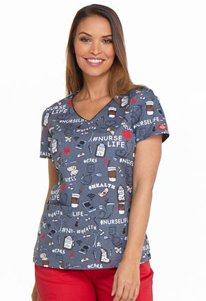 Dickies Prints V-Neck Top in Nurse Life (DK700-NULF)
