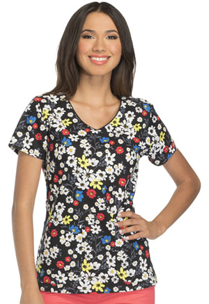 Dickies V-Neck Top Primary Posies (DK700-PYPE)