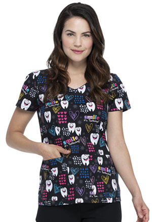 Dickies Prints V-Neck Top in Smile It's Toothsday (DK700-SITD)