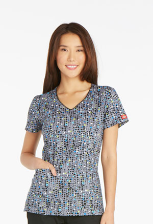 Dickies Prints V-Neck Top in That's What I Dot (DK700-THDT)
