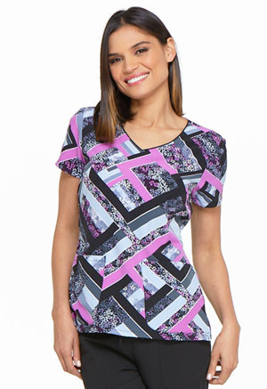 Dickies Prints V-Neck Top in Grid Garden (DK701-GRGR)
