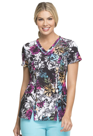 Dickies Prints V-Neck Top in Rainbow Garden (DK702-RAGR)