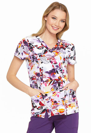 Dickies Prints V-Neck Top in Tropical Sunset (DK702-TRSU)