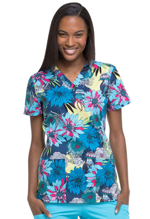 Dickies V-Neck Top Aquatic Garden (DK704-AQGA)