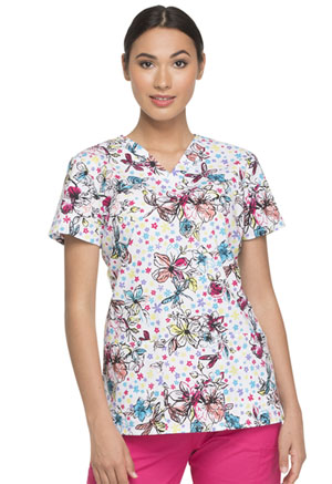 Dickies Prints V-Neck Top in Dragonfly Fields (DK704-DRFE)