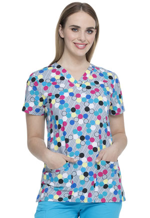 Dickies Prints V-Neck Top in Dot's My Line (DK704-DTML)