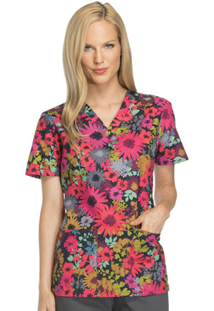 Dickies V-Neck Top Falling For Flowers (DK704-FALW)