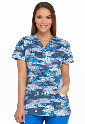 Dickies Prints V-Neck Top in Floral Fleet (DK704-FEET)