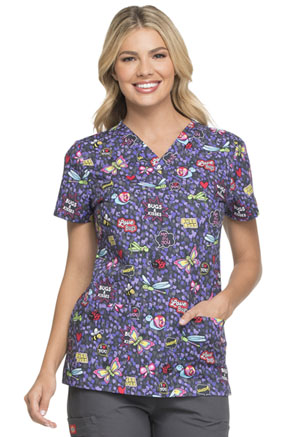 Dickies Prints V-Neck Top in Hello Love Bugs (DK704-HELB)