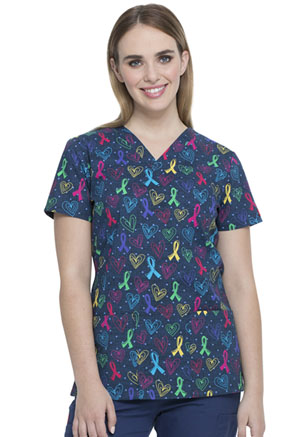 Dickies Prints V-Neck Top in Love For All (DK704-LVAL)