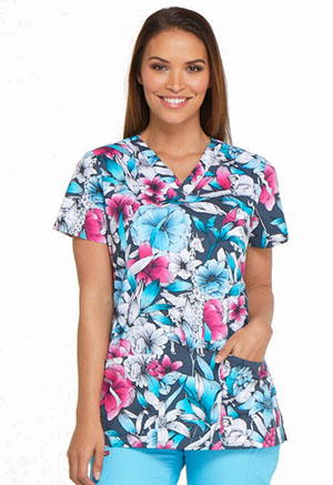 Dickies Prints V-Neck Top in Second Nature (DK704-SONU)