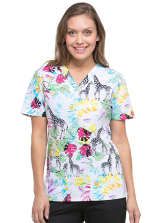 Dickies Prints V-Neck Top in Wild Jungle (DK704-WIJU)