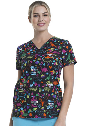 Dickies Prints V-Neck Top in Bright Like A Dino (DK709-BTLD)