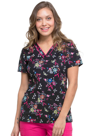 Dickies Prints V-Neck Top in Beautiful Petals (DK709-BUPT)