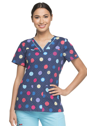 Dickies Prints V-Neck Top in Polka Dot Power (DK709-POLW)