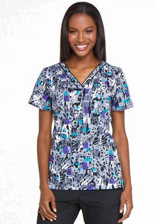 Dickies Prints V-Neck Top in Purr-fect Strokes (DK709-PUSK)