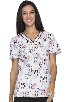 Dickies V-Neck Top Pawsitively Adorable (DK709-PWAD)