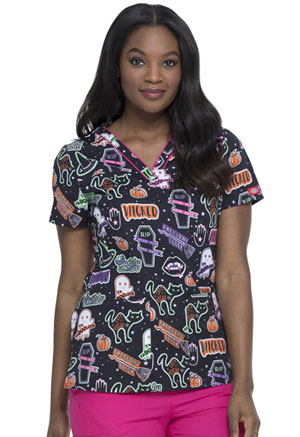 Dickies Prints V-Neck Top in Witchy Woman (DK709-WYWM)