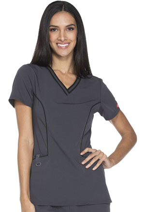 Dickies Xtreme Stretch Contrast Piping V-Neck Top in Pewter (DK715-PWT)