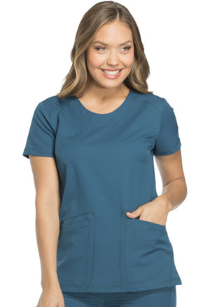 Dickies Dynamix Rounded V-Neck Top in Caribbean Blue (DK720-CAR)