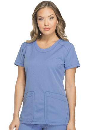 Dickies Dynamix Rounded V-Neck Top in Ciel Blue (DK720-CIE)