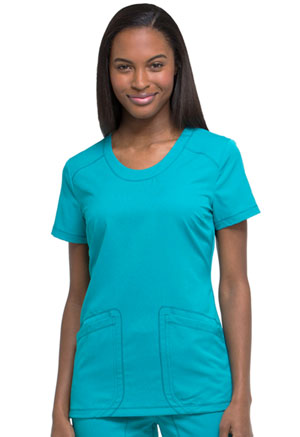 Dickies Dynamix Rounded V-Neck Top in Teal Blue (DK720-TLB)