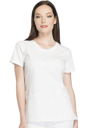 Dickies Dynamix Rounded V-Neck Top in White (DK720-WHT)