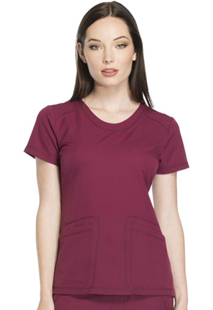 Dickies Dynamix Rounded V-Neck Top in Wine (DK720-WIN)