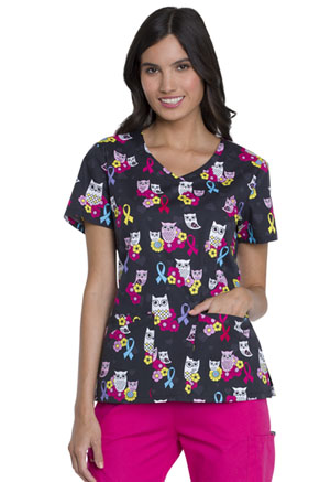 Dickies Prints V-Neck Top in Owl Awareness (DK721-OWAW)